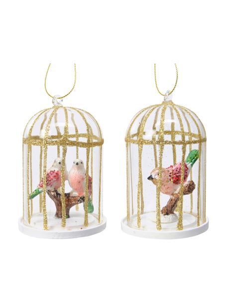 Adornos navideños Cages, 2uds., Adornos: vidrio, Transparente, dorado, rosa, verde, Ø 7 x Al 10 cm