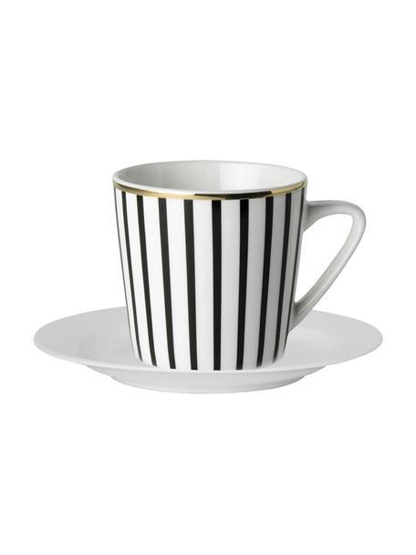 Set tazze da caffè a righe con piattini Pluto Loft 4 pz, Porcellana, Nero, bianco, dorato, Ø 8 x Alt. 8 cm