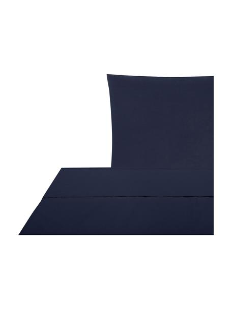 Set lenzuola in percalle blu scuro Elsie, Blu scuro, 150 x 300 cm + 1 federa 50 x 80 cm