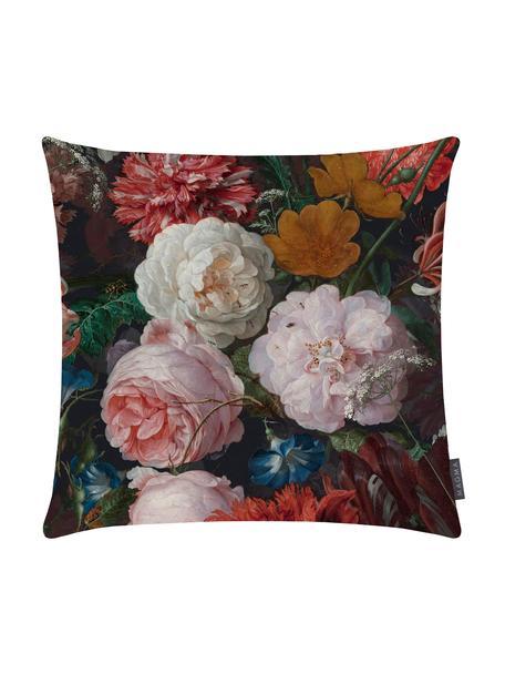 Fluwelen kussenhoes Fiore met donkere bloemmotief, 100% polyester fluweel, bedrukt, Antraciet, roze, rood, geel, groen, blauw, 50 x 50 cm