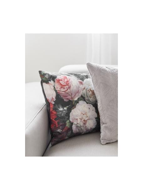 Dwustronna poszewka na poduszkę z aksamitu Fiore, 100% aksamit poliestrowy, nadruk, Antracytowy, blady różowy, czerwony, żółty, zielony, niebieski, S 50 x D 50 cm