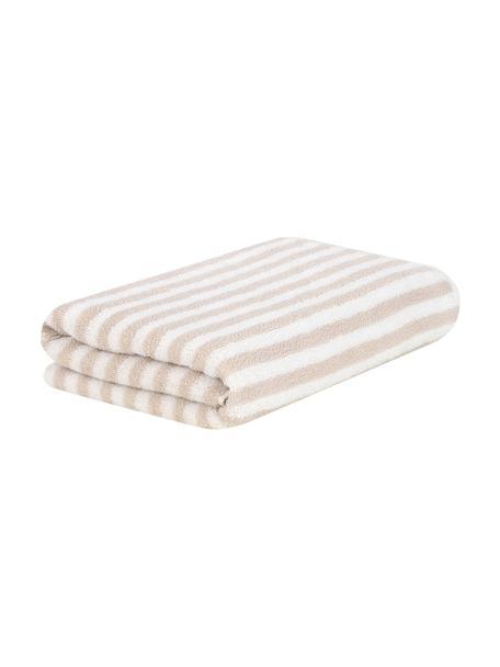 Gestreepte handdoek Viola, 100% katoen, middelzware kwaliteit, 550 g/m², Zandkleurig, crèmewit, Gastendoekje