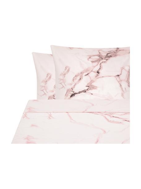 Sábana encimera de percal Malin, Parte superior: estampado mármol rosa Parte trasera: rosa monocromática, Cama 150/160 cm (240 x 270 cm)