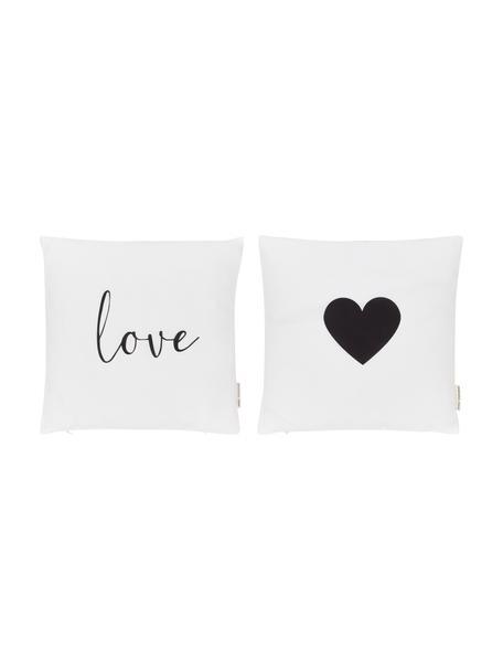Set 2 federe arredo Love, 100% poliestere, Nero, bianco, Larg. 40 x Lung. 40 cm