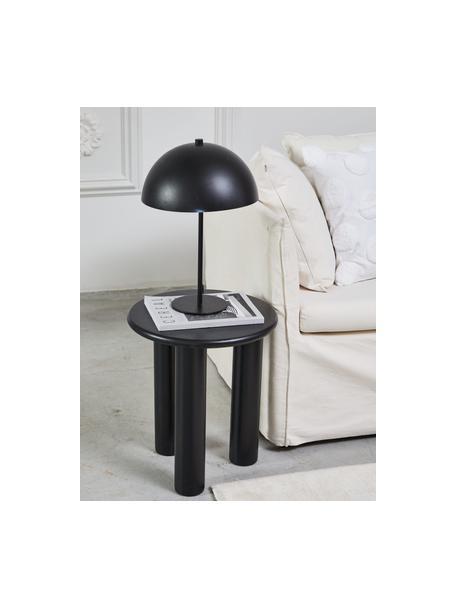 Stolik pomocniczy z drewna dębowego Didi, Lite drewno dębowe, lakierowane, Czarny, Ø 40 x W 45 cm