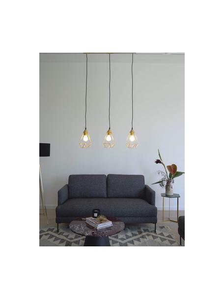 Lámpara de techo grande Kyle, Anclaje: metal cepillado, Cable: cubierto en tela, Dorado, An 80 x Al 18 cm