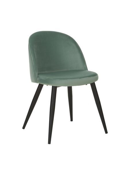 Krzesło tapicerowane z aksamitu  Amy, 2 szt., Tapicerka: aksamit (poliester) Dzięk, Nogi: metal malowany proszkowo, Turkusowy, S 51 x G 55 cm