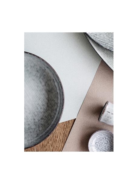 Ręcznie wykonana miska z kamionki Nordic Sea, 4 szt., Kamionka, Odcienie szarego, odcienie niebieskiego, Ø 22 x W 5 cm