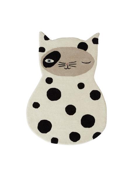 Wollteppich Zorro Cat, 80% Wolle, 20% Baumwolle, Gebrochenes Weiß, Schwarz, Beige, Blau, 64 x 93 cm