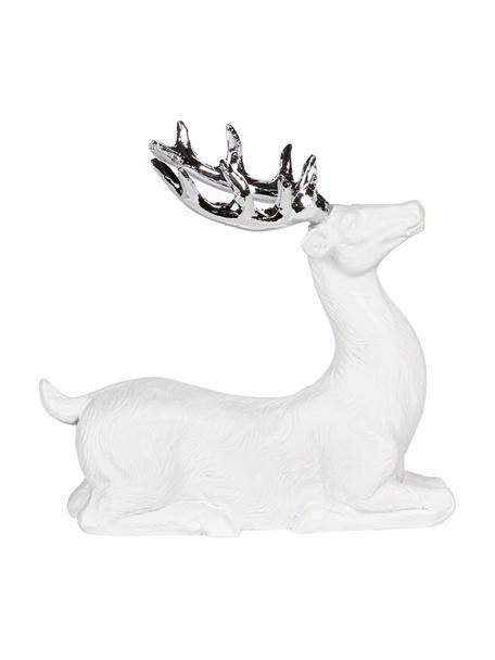 Handgefertigter Deko-Hirsch Deer H 9 cm, Polyresin, Weiß, Silberfarben, 9 x 9 cm