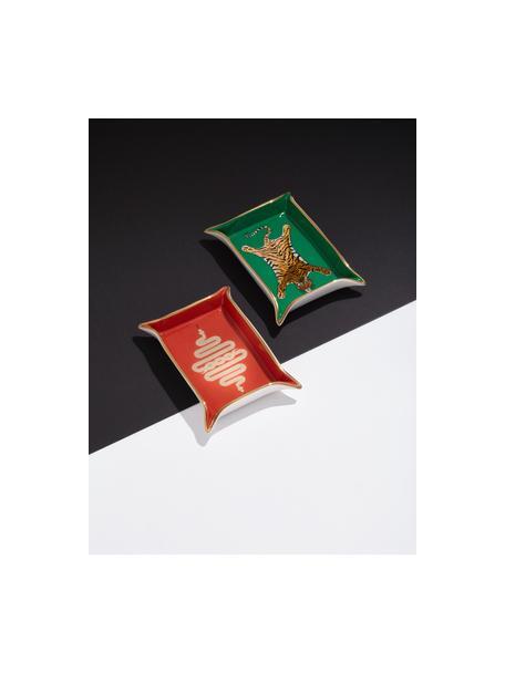 Ciotola Snake, Porcellana, accenti dorati, Interno: arancio, oro Esterno: bianco, L 18 x P 13 cm