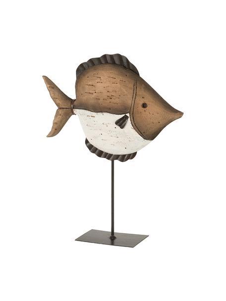 Decoratief object Fish, Hout, Bruin, beige, zwart, 25 x 33 cm