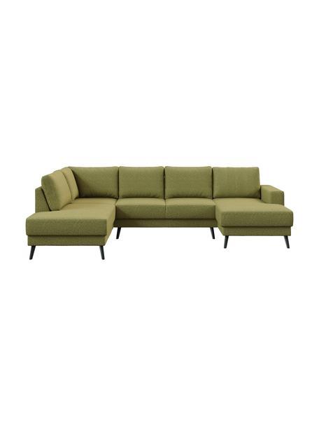 Sofa narożna XL z aksamitu Fynn, Tapicerka: 100% poliester z uczuciem, Stelaż: drewno liściaste, drewno , Nogi: drewno lakierowane Dzięki, Oliwkowy zielony, S 306 x G 200 cm