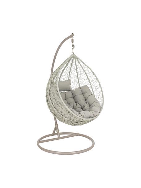 Gevlochten hangstoel Amirantes met metalen frame, Frame: gepoedercoat staal, Zitvlak: synthetische vezels, Bekleding: polyester, Grijs, crèmewit, Ø 105 x H 198 cm