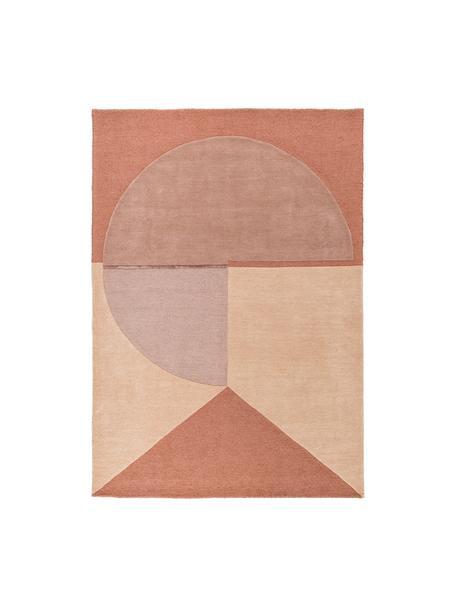 Handgetuft wollen vloerkleed Satomi, Bovenzijde: 95% wol, 5% viscose, Onderzijde: katoen, Perzikkleurige en rozetinten, B 140 x L 200 cm (maat S)