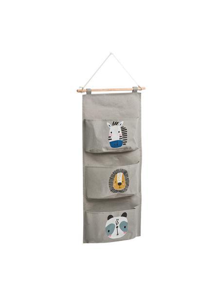 Hänge-Organizer Animals, Organizer: 90% Polyester, 10% Baumwo, Stange: Holz, Grau, Mehrfarbig, 20 x 60 cm