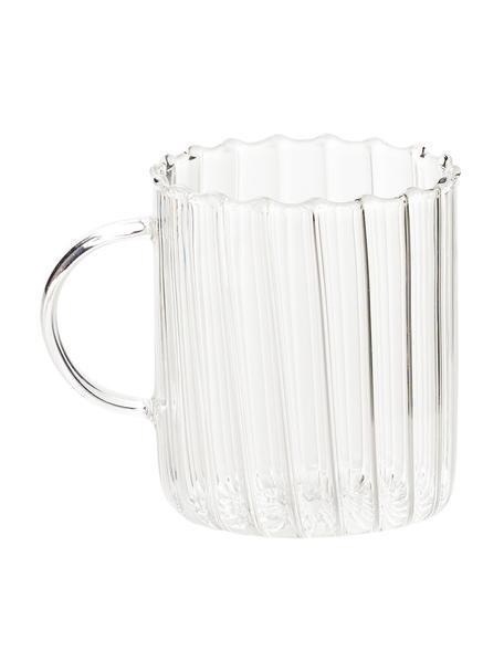 Theeglas Boro van borosilicaatglas met groefreliëf, 2 stuks, Borosilicaatglas, Transparant, Ø 8 x H 10 cm