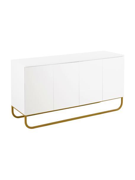Klassiek dressoir Sanford met deuren in wit, Frame: gelakt MDF, Frame: mat wit. Onderstel: mat goudkleurig, 160 x 83 cm