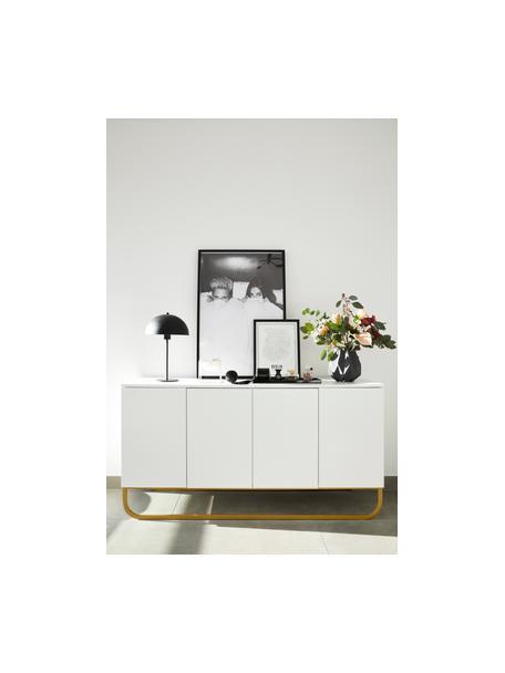 Aparador Sanford, estilo clásico, Estructura: tablero de fibras de dens, Parte trasera: tablero de fibras de desi, Patas: metal con pintura en polv, Blanco, dorado, An 160 x Al 83 cm