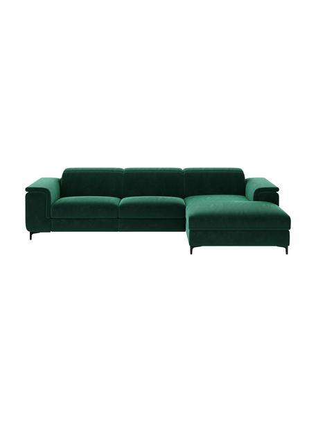 Divano angolare in velluto verde scuro con funzione relax Brito, Rivestimento: 100% velluto di poliester, Sottostruttura: compensato, legno di fagg, Verde scuro, Larg. 300 x Prof. 170 cm