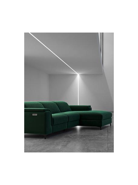 Sofa narożna z aksamitu z funkcją relaks Brito, Tapicerka: 100% aksamit poliestrowy,, Nogi: metal lakierowany, Ciemny zielony, S 300 x G 170 cm