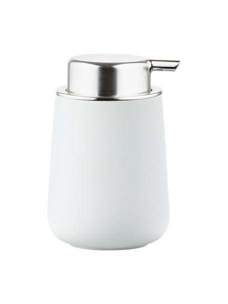 Dozownik do mydła z porcelany Nova One, Biały matowy, srebrny, Ø 8 x 12 cm