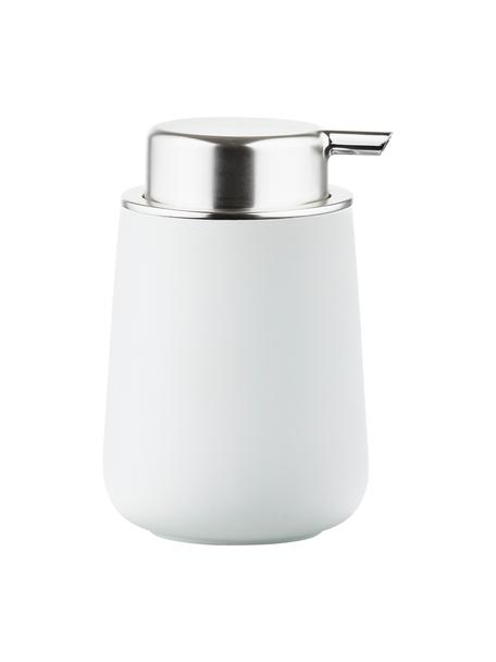 Zeepdispenser Push, Houder: porselein, Pompje: kunststof, Mat wit, zilverkleurig, Ø 8 x H 12 cm