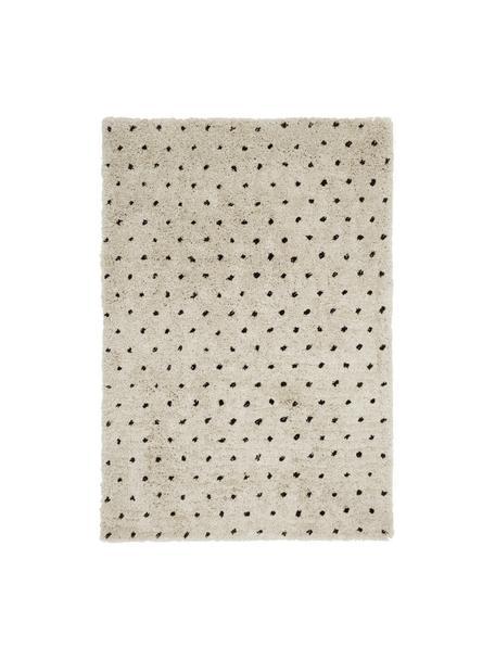 Alfombra artesanal Ayana, Parte superior: 100%poliéster, Reverso: 100%algodón, Beige, negro, An 80 x L 150 cmcm(Tamaño XS)