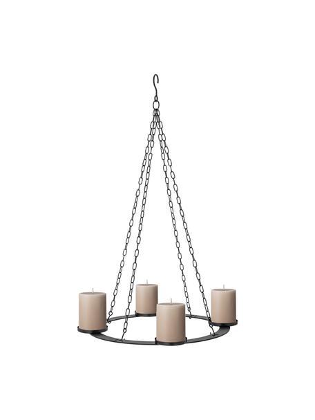 Wiszący świecznik adwentowy Jutta, Metal, Czarny, Ø 40 x W 71 cm