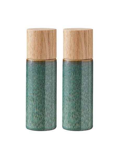 Komplet młynka do soli i pieprzu z kamionki Bizz, 2 elem., Odcienie zielonego, beżowy, drewno naturalne, Ø 5 x W 17 cm