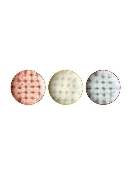 Set 3 piatti piani con piccolo motivo Carla, Gres, Multicolore, Ø 25 cm