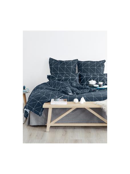 Baumwoll-Wendekopfkissenbezüge Marla mit grafischem Muster, 2 Stück, Webart: Renforcé Fadendichte 144 , Navyblau, Weiß, 40 x 80 cm