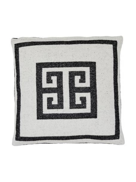 Kussenhoes Lugano in zwart/wit met grafisch patroon, 100% polyester, Zwart, gebroken wit, 45 x 45 cm