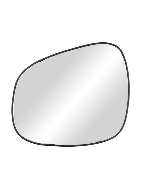 Specchio da parete moderno con cornice in metallo Tony, Cornice: metallo rivestito, Superficie dello specchio: lastra di vetro, Nero, Larg. 43 x Alt. 50 cm