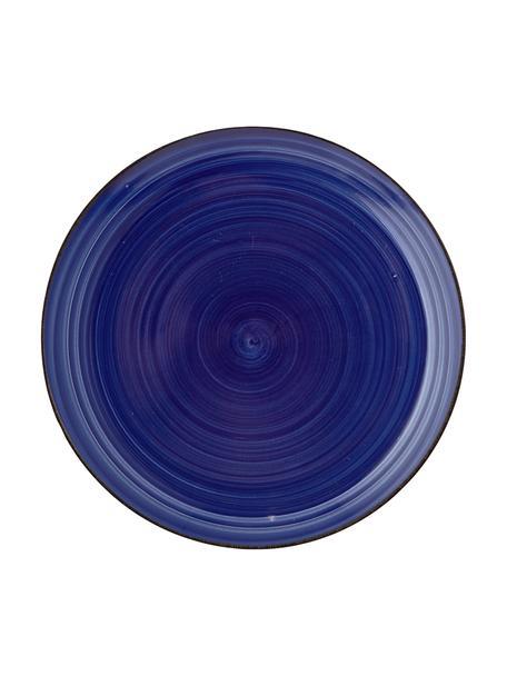 Platos postre artesanal Baita, 6uds., Gres (dolomita) pintadoamano, Azul, Ø 20 cm