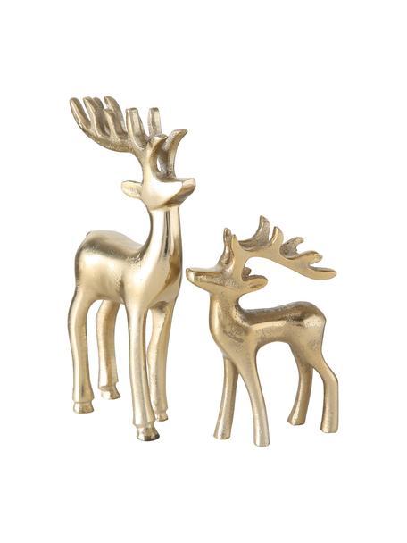 Figuras decorativas ciervos Taisto, 2uds., Aluminio recubierto, Dorado, Set de diferentes tamaños