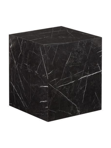 Mesa auxiliar en look mármol Lesley, Tablero de fibras de densidad media(MDF), recubierto en melanina, Negro veteado brillante, An 45 x Al 50 cm