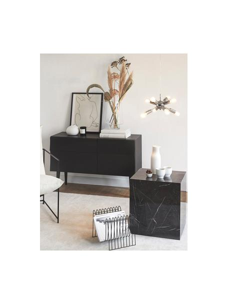 Tavolino quadrato effetto marmo Lesley, Pannello di fibra a media densità (MDF) rivestito con foglio di melamina, Nero, marmorizzato, Larg. 45 x Alt. 50 cm