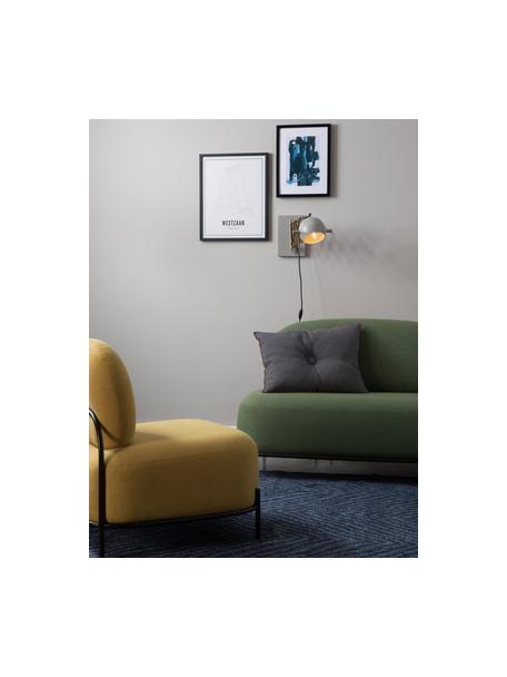 Wandlamp Sarana met stekker, Lampenkap: gepoedercoat metaal, Frame: metaal, Goudkleurig, lichtgrijs, 17 x 26 cm