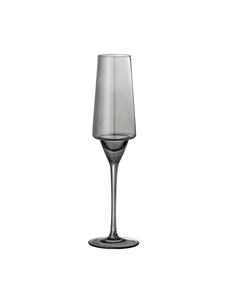 Sektgläser Yvette in Grau, 4 Stück, Glas, Grau, Ø 10 x H 23 cm