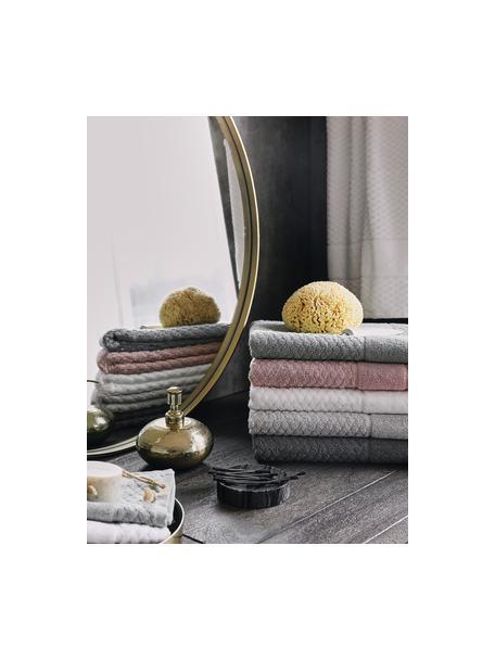Set 3 asciugamani con motivo a nido d'ape Katharina, Bianco, Set in varie misure