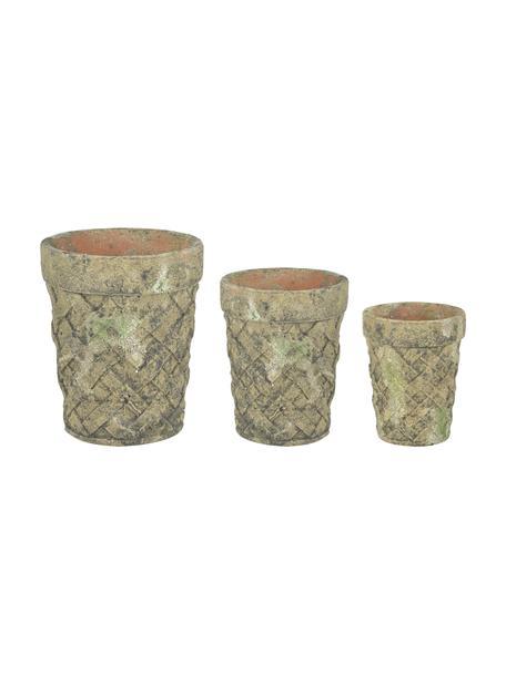 Kleine plantenpottenset Patina, 3-delig, Terracotta, Groen, beige, Set met verschillende formaten