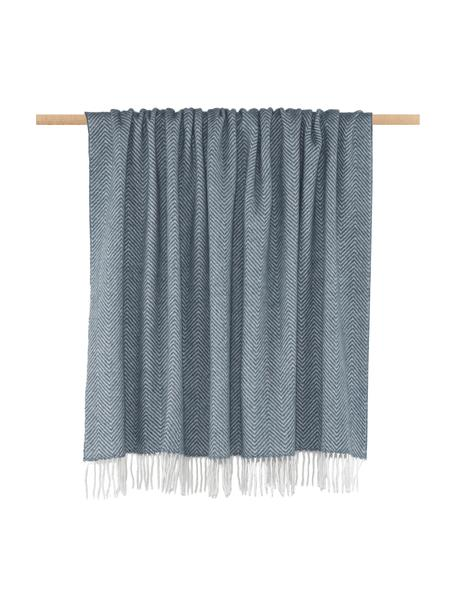 Manta de lana de merino Aubrey, 80%lana merino, 20%nylon, Azul, blanco crudo, An 140 x L 186 cm
