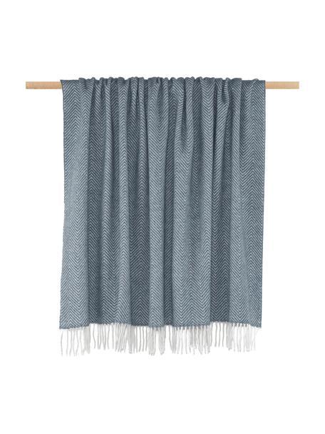 Plaid in lana merino con motivo a zigzag Aubrey, 80% lana merino, 20% nylon, Blu, bianco latteo, Larg. 140 x Lung. 200 cm
