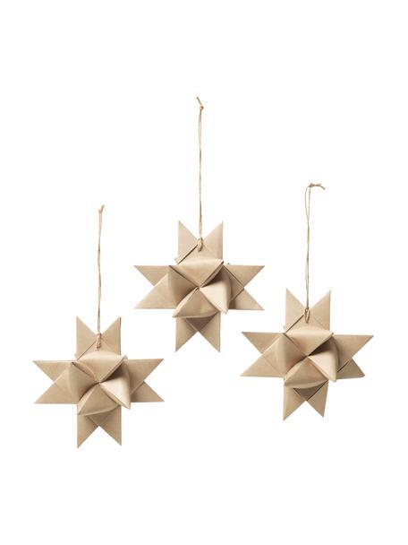 Baumanhänger Stars Ø 15 cm, 3 Stück, Beige, Ø 15 cm