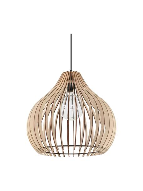 Lámpara de techo de madera Pantilla, Pantalla: madera, Anclaje: plástico, Cable: plástico, Madera, negro, Ø 43 x Al 39 cm