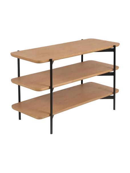 Wandrek Easy van hout en metaal, Plank: MDF met eikenhoutfineer, Frame: gecoat metaal, Zwart, bruin, 90 x 55 cm