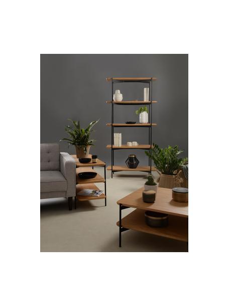 Estantería de madera y metal Easy, Estante: tablero de fibras de dens, Estructura: metal recubierto, Negro, marrón, An 90 x Al 55 cm