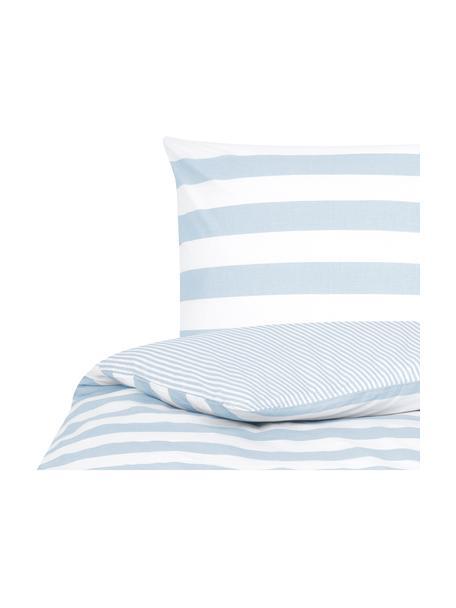 Funda nórdica doble cara de algodón Lorena, Azul claro, blanco crema, Cama 90 cm (150 x 220 cm)