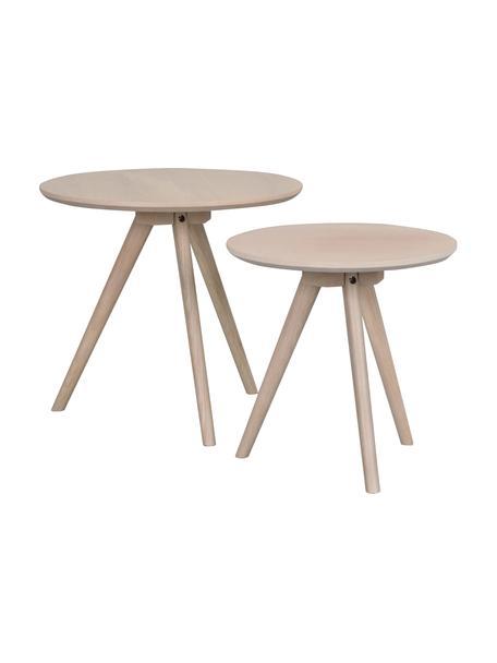 Set de mesas auxiliares Yumi, 2uds., Tablero: fibras de densidad media , Patas: madera de roble maciza, Beige, Set de diferentes tamaños